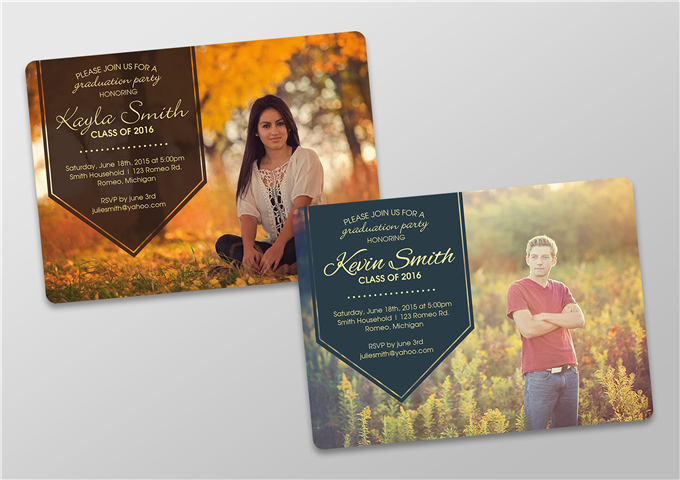 Color Graduation Invites - Boy and Girl