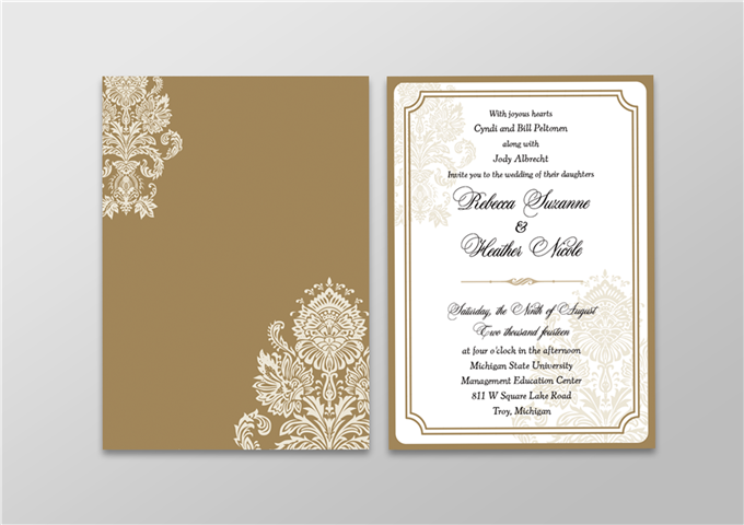 Wedding Invite With Backing Layer