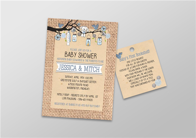 Color Baby Shower Invite with Book Gift Tag