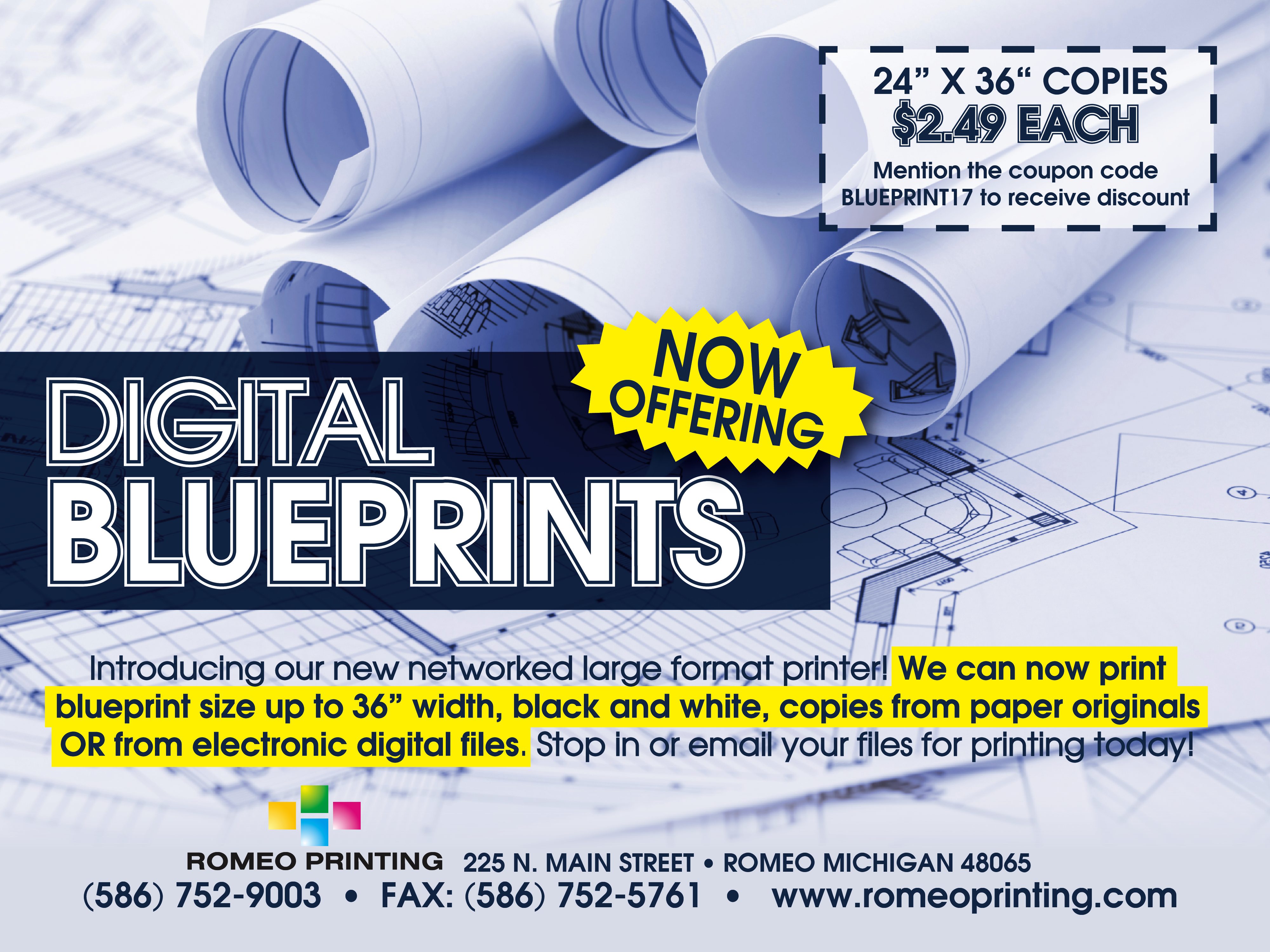 Current promotions on our printing services romeo printing blueprint special malvernweather Choice Image